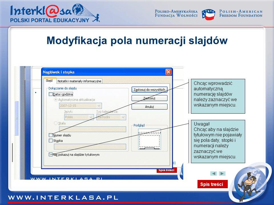 Modyfikacja pola numeracji slajdów