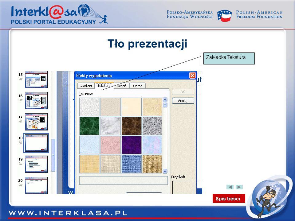 Tło prezentacji Zakładka Tekstura