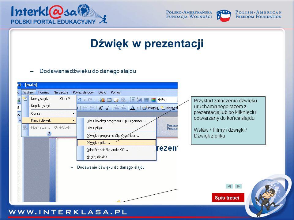 Dźwięk w prezentacji Dodawanie dźwięku do danego slajdu