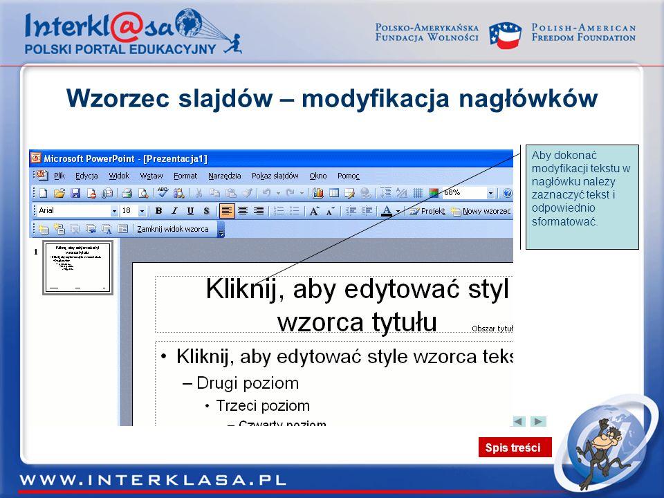 Wzorzec slajdów – modyfikacja nagłówków