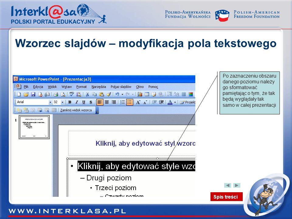 Wzorzec slajdów – modyfikacja pola tekstowego