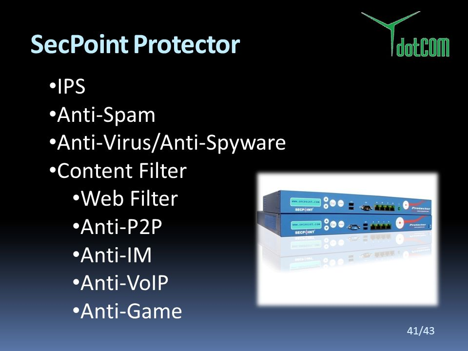 SecPoint Protector IPS Anti-Spam Anti-Virus/Anti-Spyware