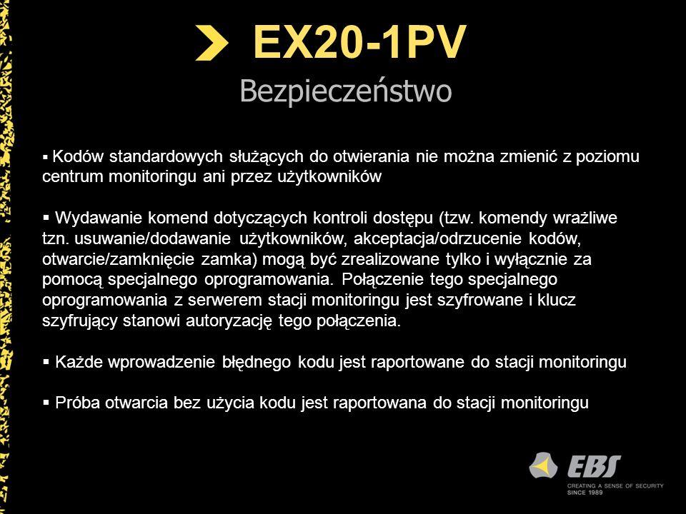 EX20-1PV Bezpieczeństwo. Kodów standardowych służących do otwierania nie można zmienić z poziomu centrum monitoringu ani przez użytkowników.