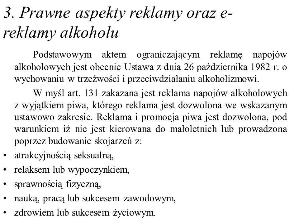 3. Prawne aspekty reklamy oraz e-reklamy alkoholu
