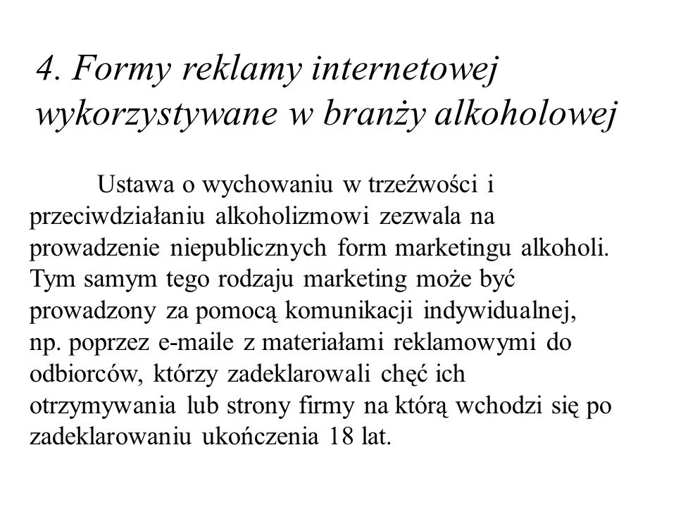 4. Formy reklamy internetowej wykorzystywane w branży alkoholowej