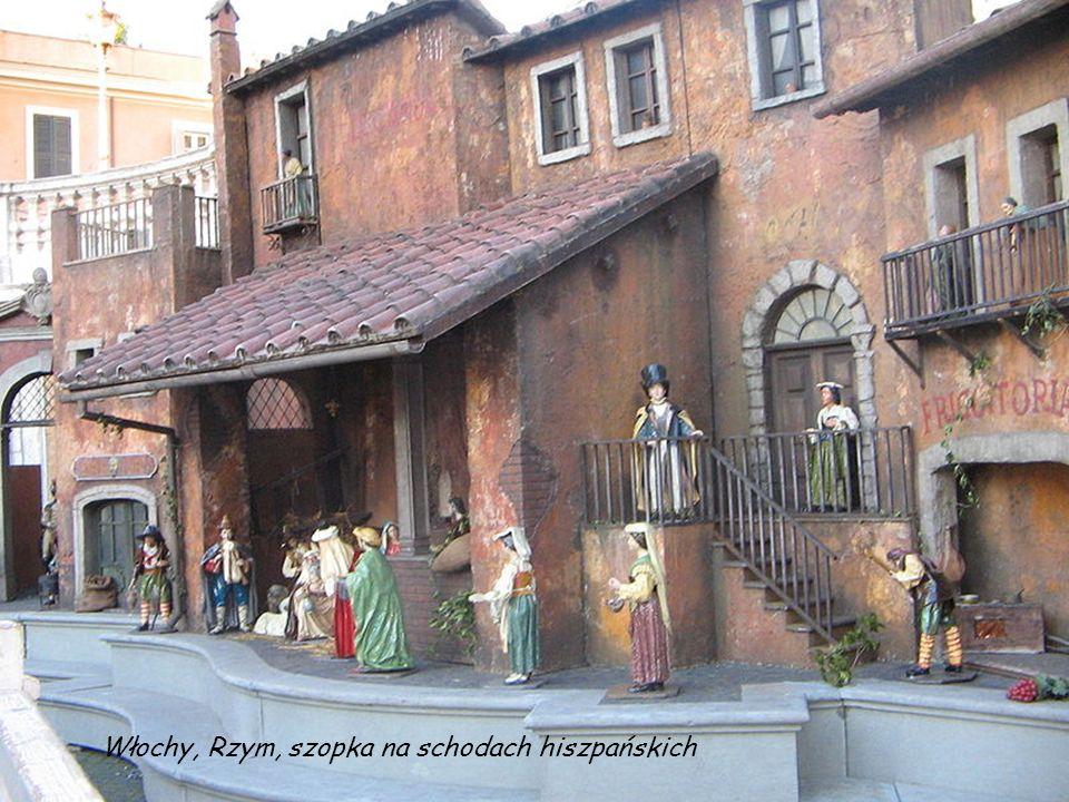 Włochy, Rzym, szopka na schodach hiszpańskich