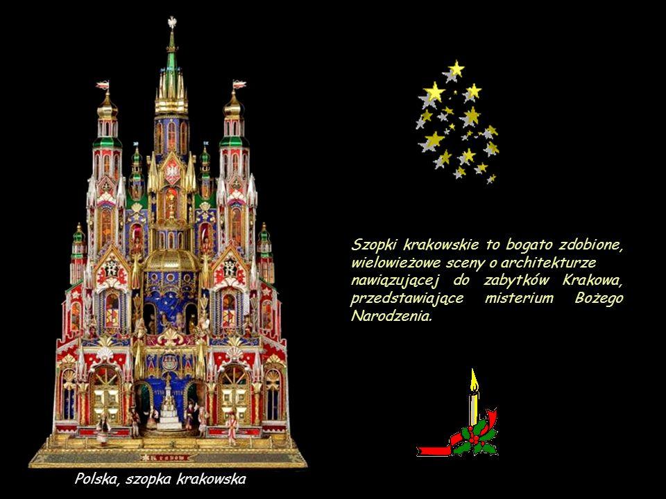 Szopki krakowskie to bogato zdobione, wielowieżowe sceny o architekturze