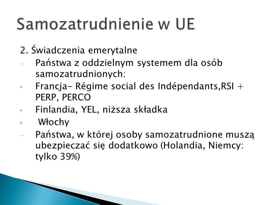Samozatrudnienie w UE 2. Świadczenia emerytalne
