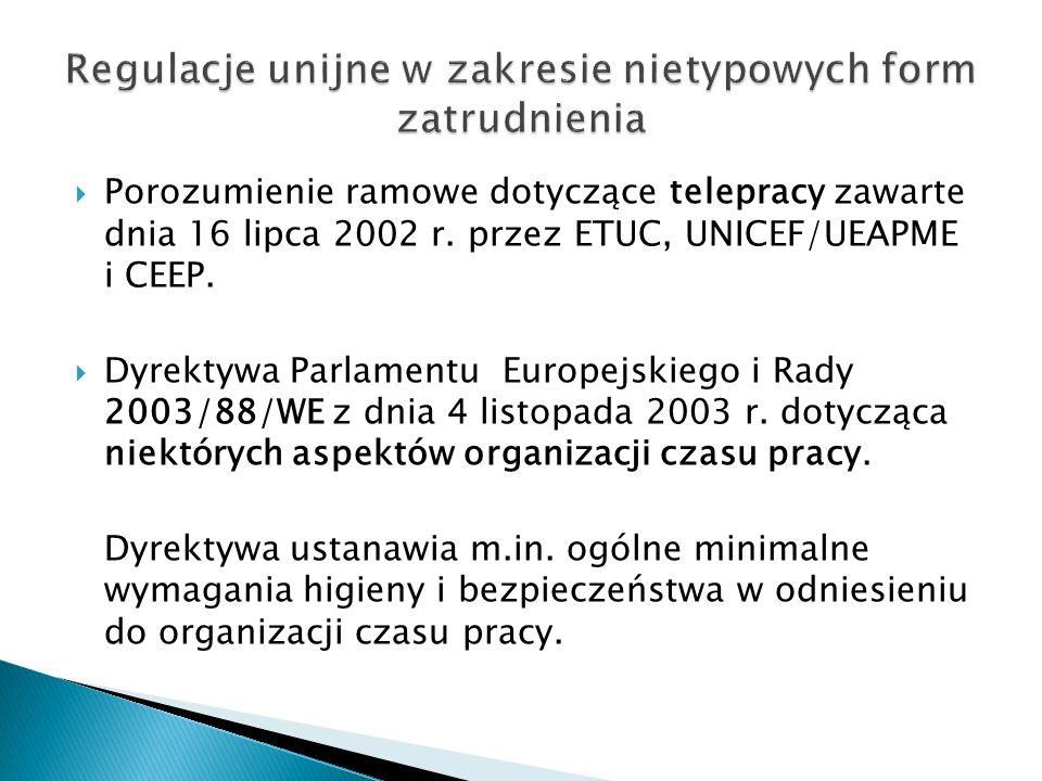 Regulacje unijne w zakresie nietypowych form zatrudnienia