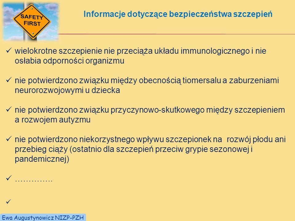 Informacje dotyczące bezpieczeństwa szczepień
