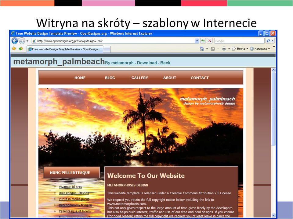 Witryna na skróty – szablony w Internecie