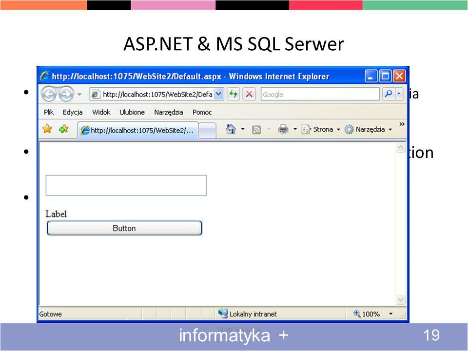 ASP.NET & MS SQL Serwer ASP.NET – platforma firmy Microsoft, służąca do tworzenia dynamicznych stron internetowych, aplikacji oraz usług sieciowych.