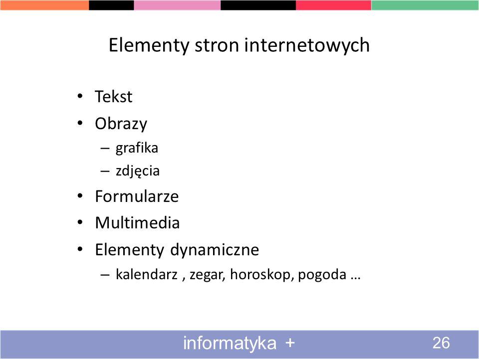 Elementy stron internetowych