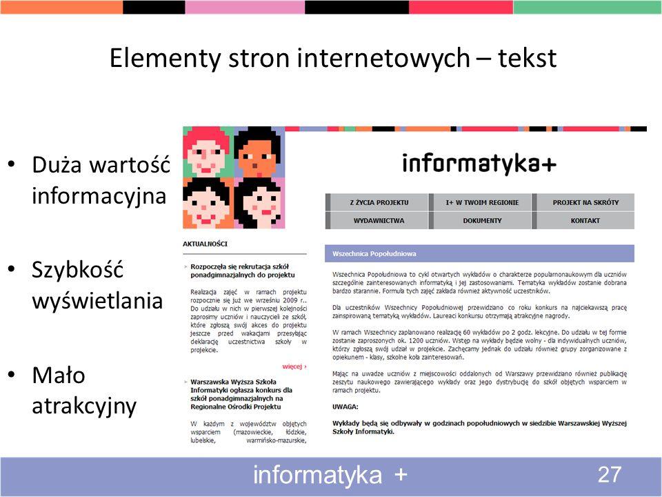 Elementy stron internetowych – tekst