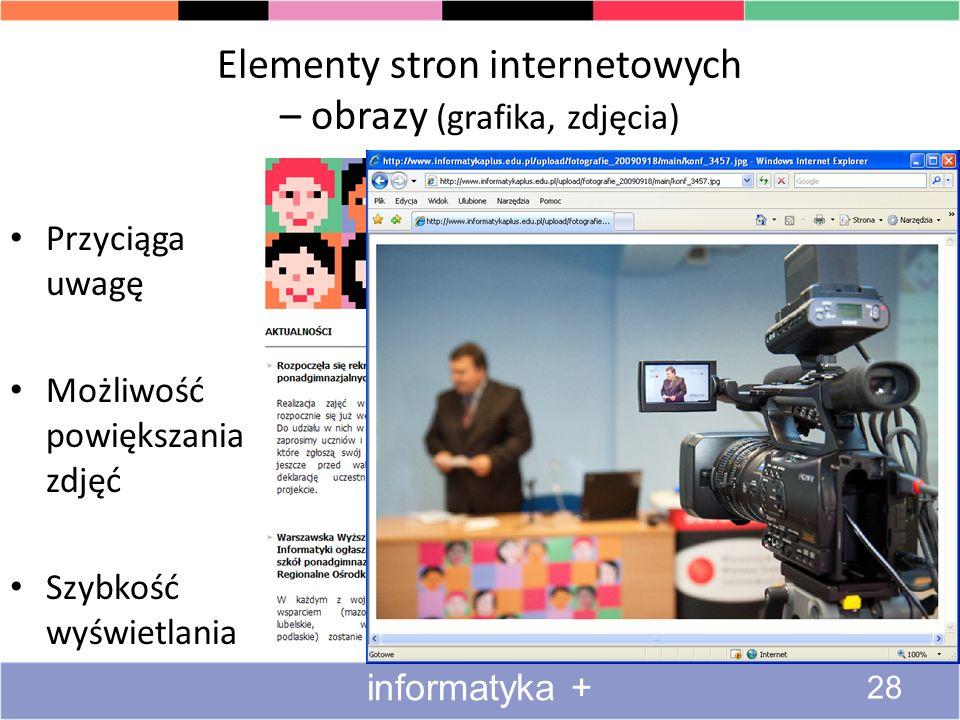 Elementy stron internetowych – obrazy (grafika, zdjęcia)