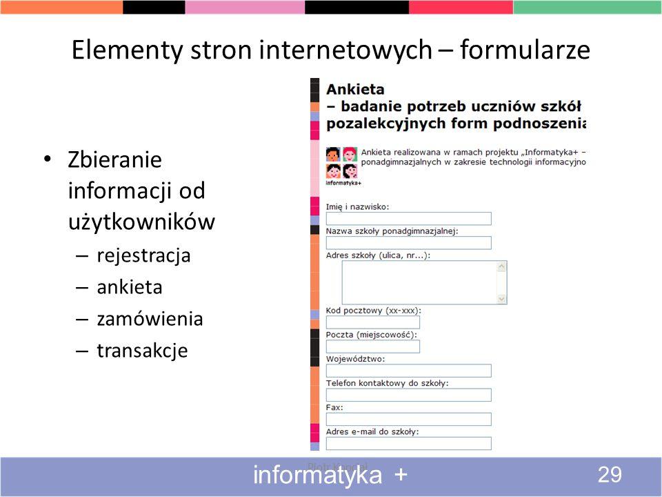 Elementy stron internetowych – formularze