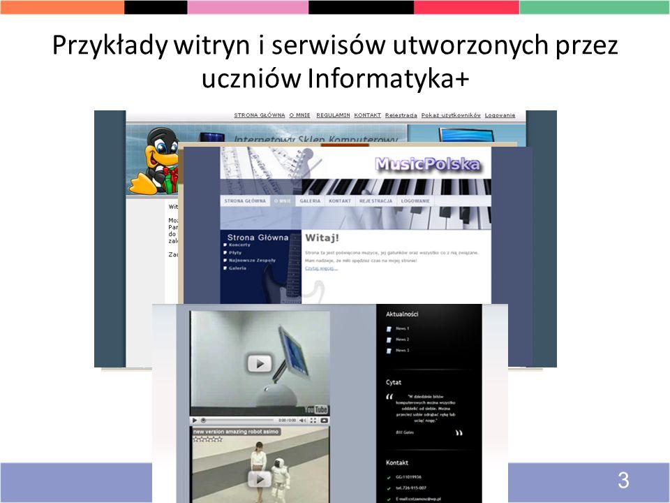 Przykłady witryn i serwisów utworzonych przez uczniów Informatyka+