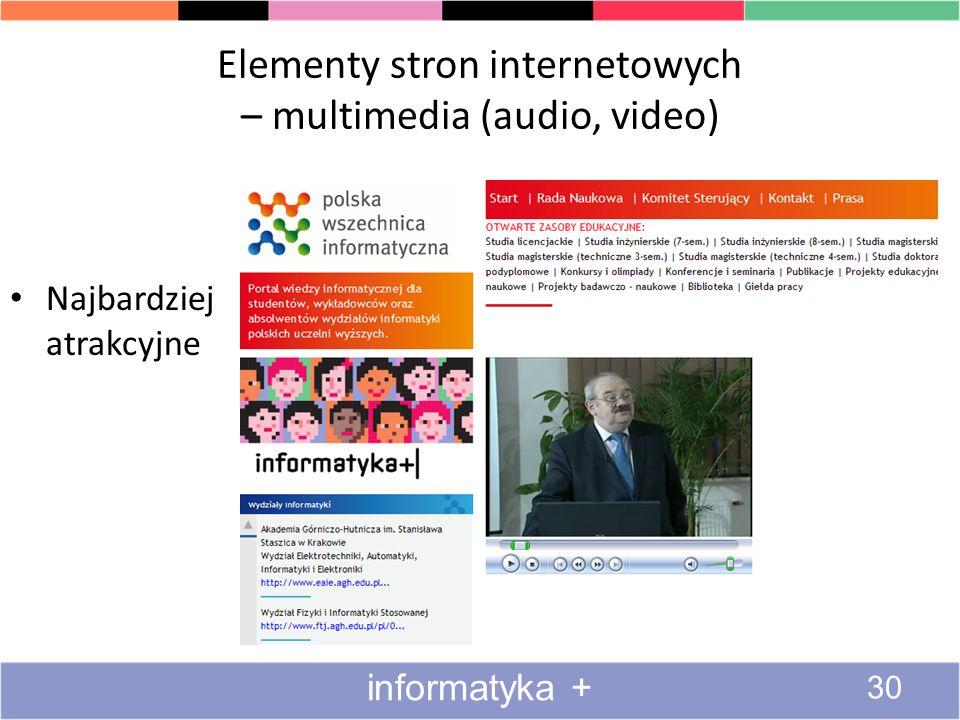 Elementy stron internetowych – multimedia (audio, video)