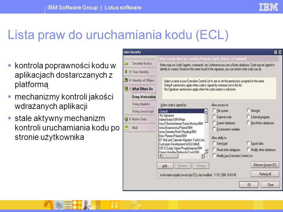 Lista praw do uruchamiania kodu (ECL)