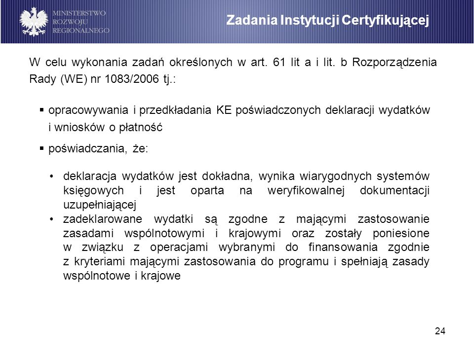 Zadania Instytucji Certyfikującej