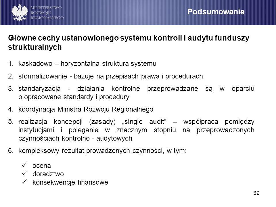 Podsumowanie Główne cechy ustanowionego systemu kontroli i audytu funduszy strukturalnych. kaskadowo – horyzontalna struktura systemu.