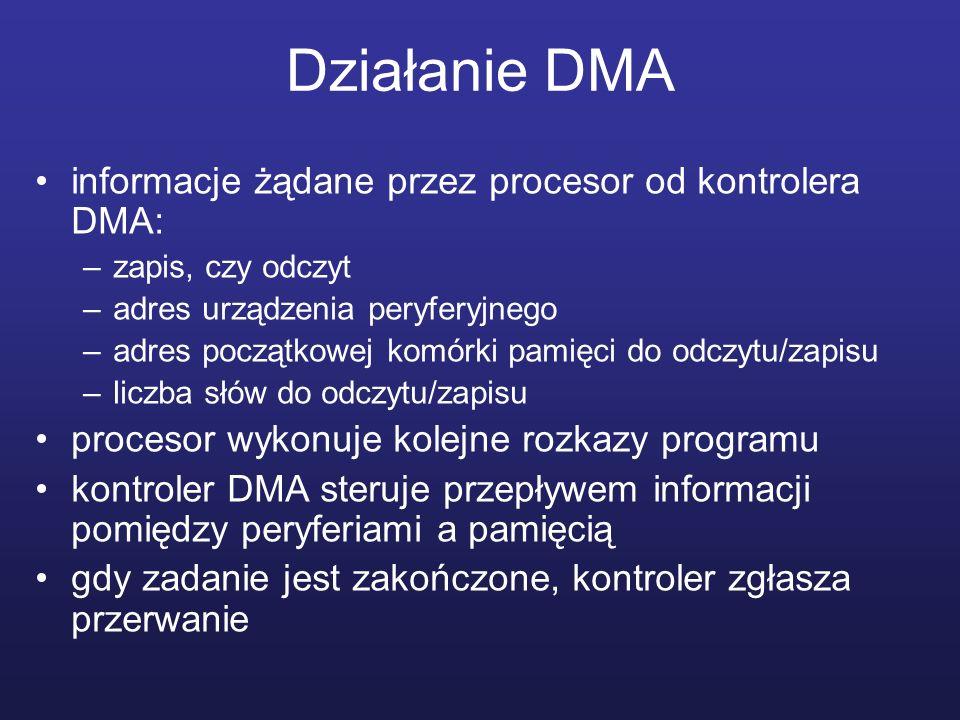 Działanie DMA informacje żądane przez procesor od kontrolera DMA: