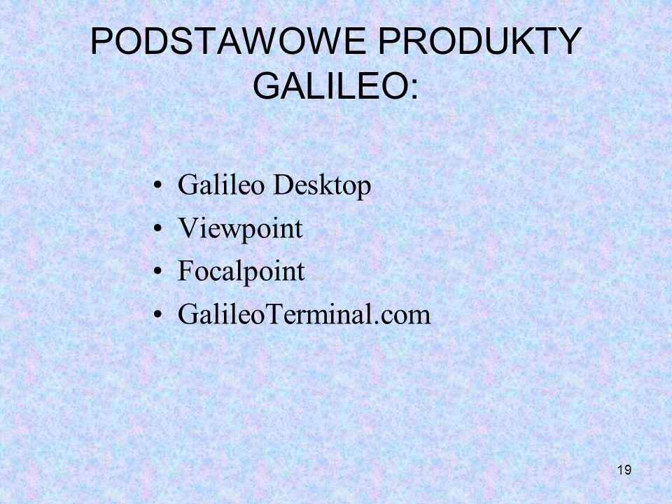 PODSTAWOWE PRODUKTY GALILEO: