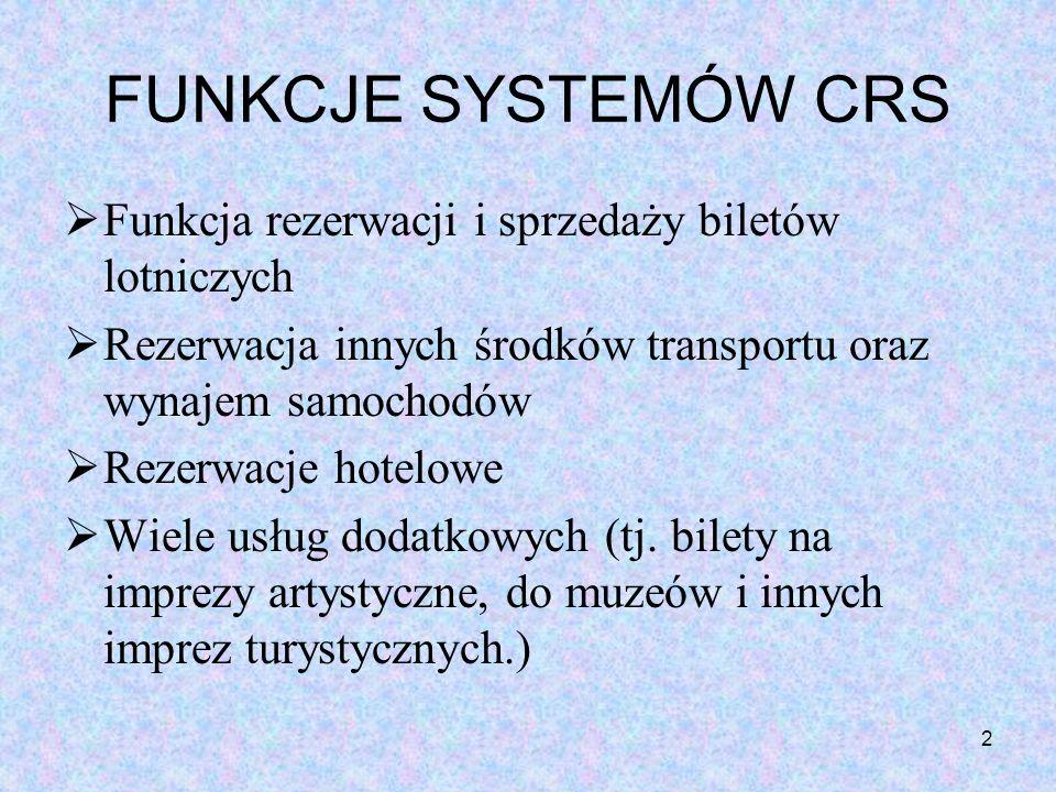 FUNKCJE SYSTEMÓW CRS Funkcja rezerwacji i sprzedaży biletów lotniczych