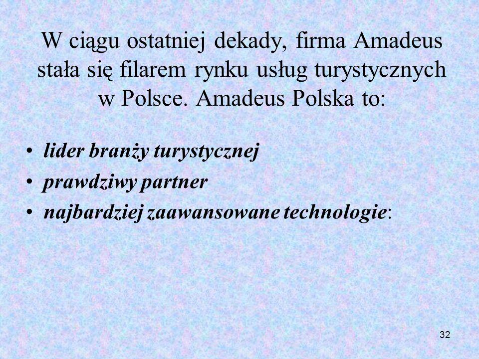 W ciągu ostatniej dekady, firma Amadeus stała się filarem rynku usług turystycznych w Polsce. Amadeus Polska to:
