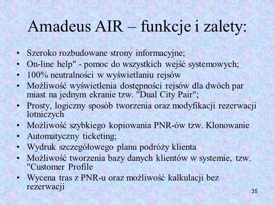 Amadeus AIR – funkcje i zalety: