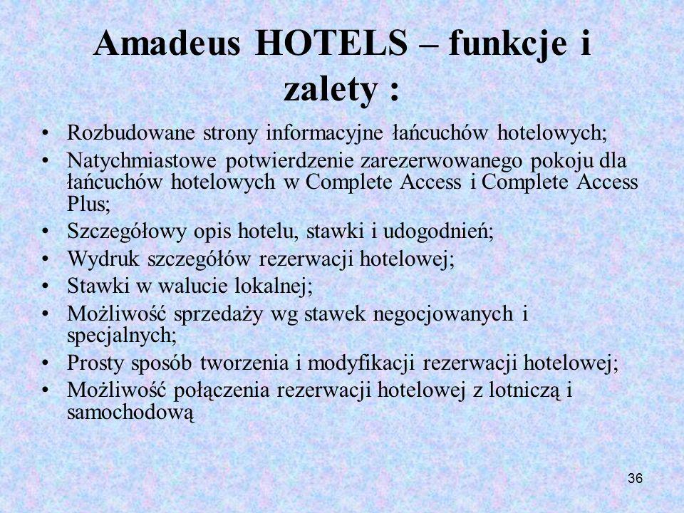 Amadeus HOTELS – funkcje i zalety :