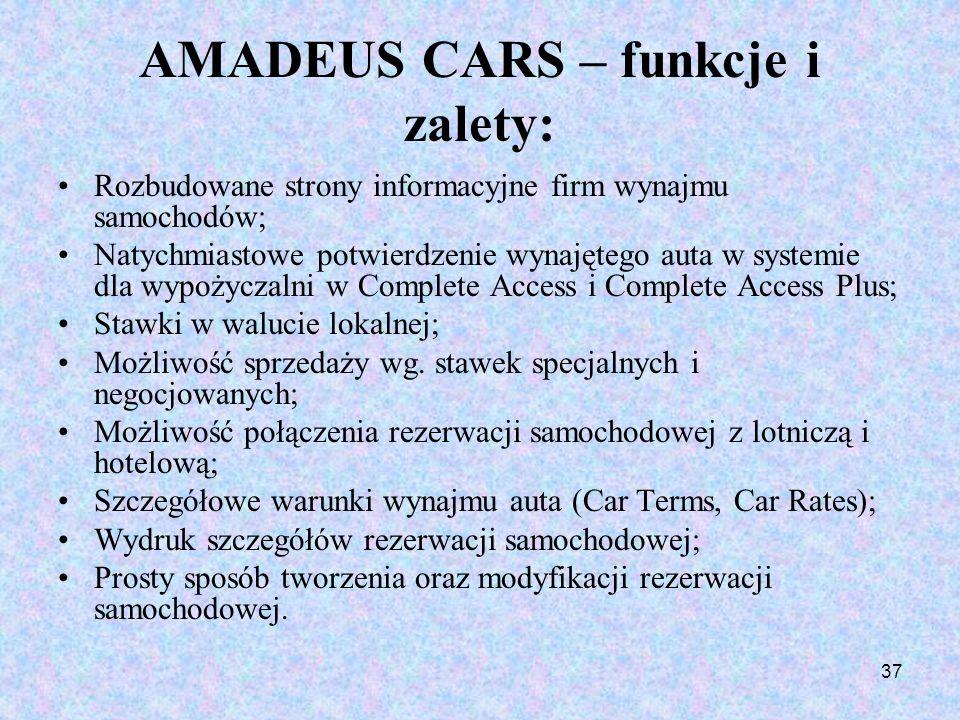 AMADEUS CARS – funkcje i zalety:
