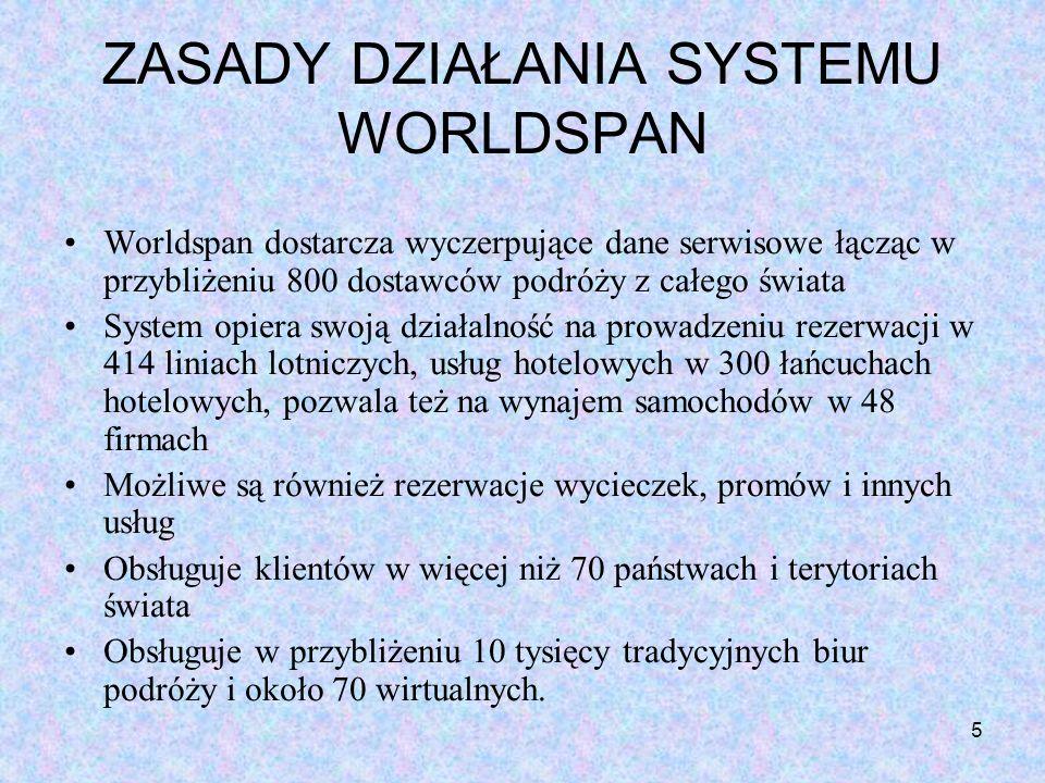 ZASADY DZIAŁANIA SYSTEMU WORLDSPAN