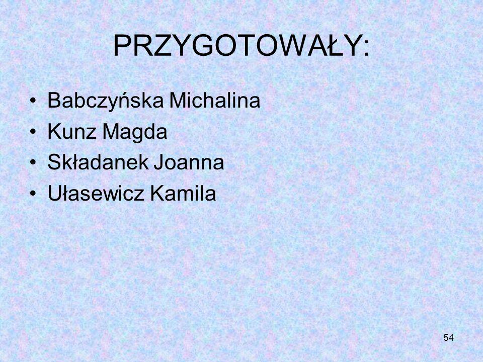 PRZYGOTOWAŁY: Babczyńska Michalina Kunz Magda Składanek Joanna