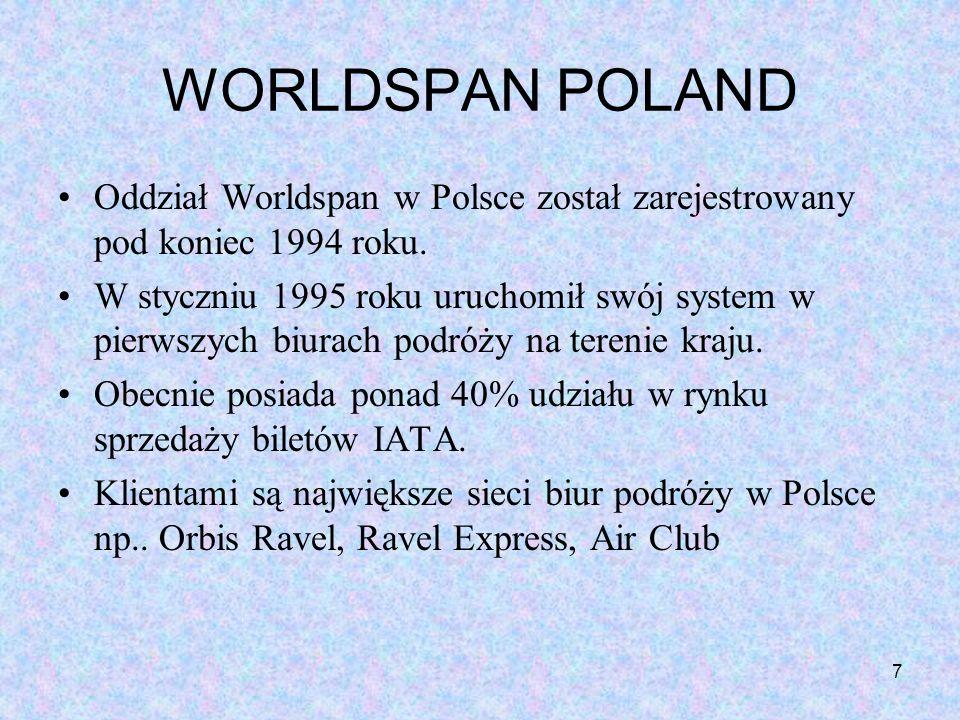 WORLDSPAN POLAND Oddział Worldspan w Polsce został zarejestrowany pod koniec 1994 roku.