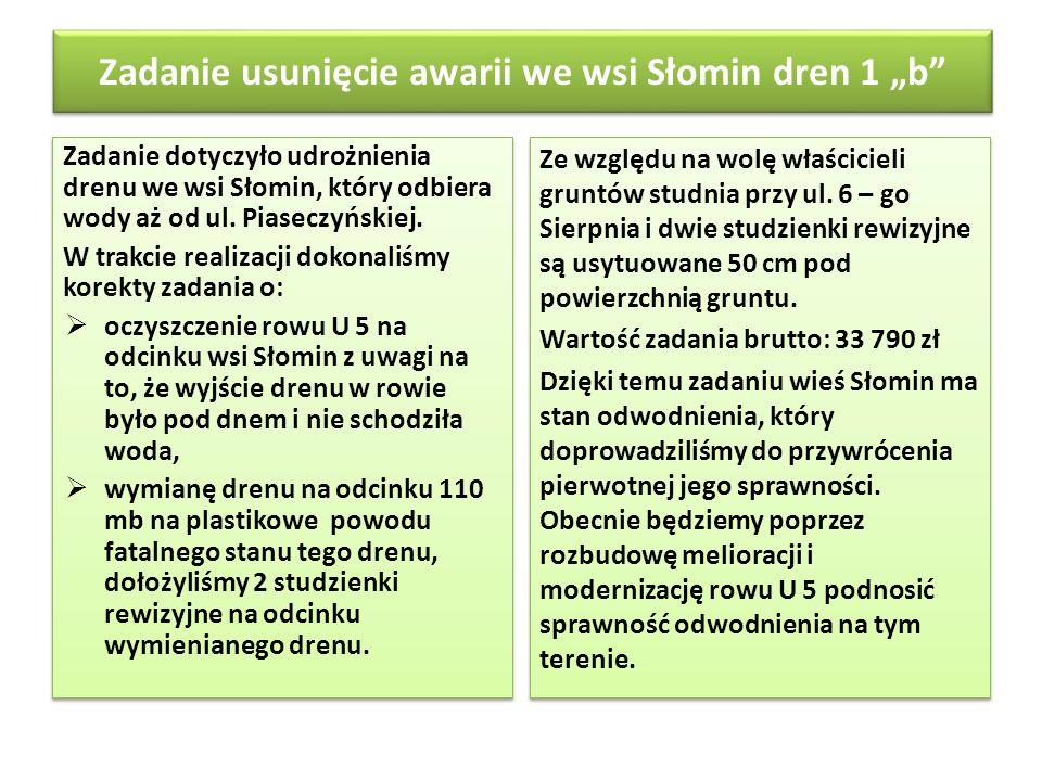 """Zadanie usunięcie awarii we wsi Słomin dren 1 """"b"""