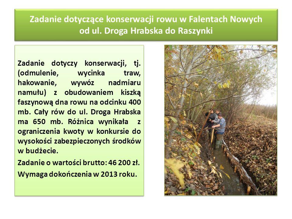 Zadanie dotyczące konserwacji rowu w Falentach Nowych od ul