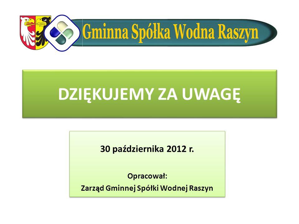30 października 2012 r. Opracował: Zarząd Gminnej Spółki Wodnej Raszyn