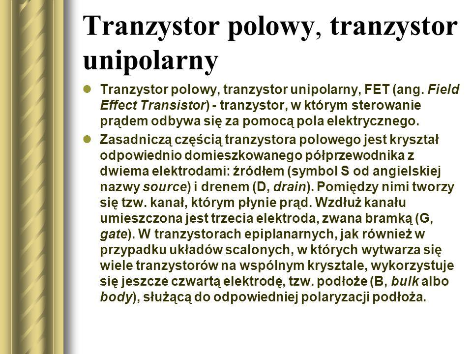 Tranzystor polowy, tranzystor unipolarny