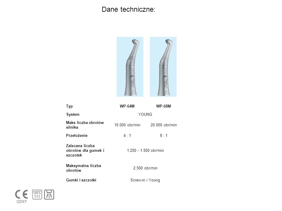 Dane techniczne: Typ WP-64M WP-68M System YOUNG