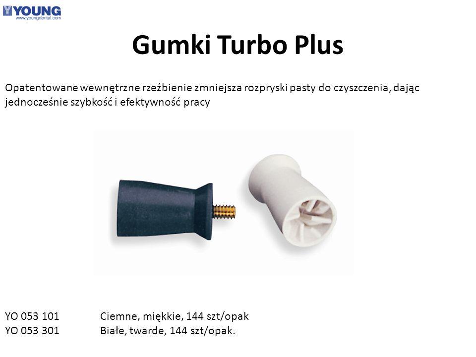 Gumki Turbo Plus Opatentowane wewnętrzne rzeźbienie zmniejsza rozpryski pasty do czyszczenia, dając jednocześnie szybkość i efektywność pracy.