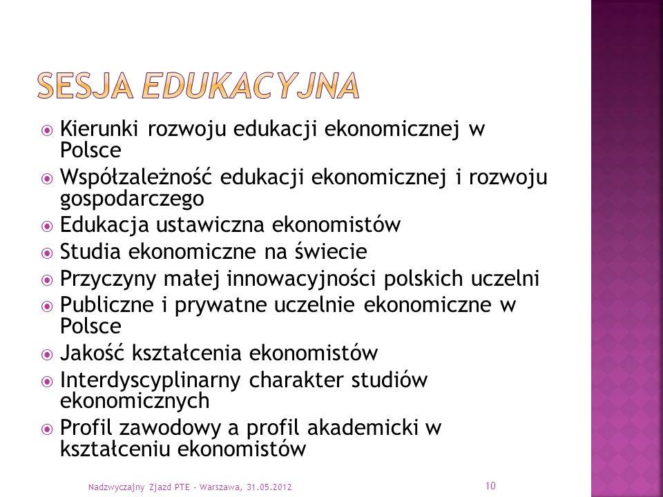 Sesja edukacyjna Kierunki rozwoju edukacji ekonomicznej w Polsce