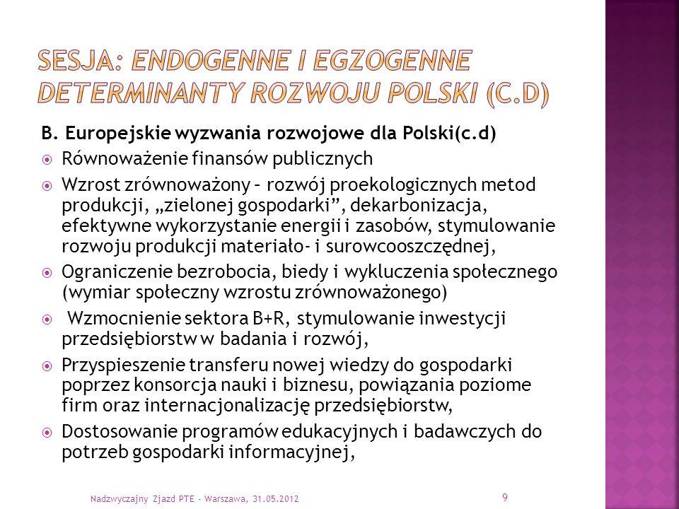 sesja: endogenne i egzogenne determinanty rozwoju Polski (c.D)