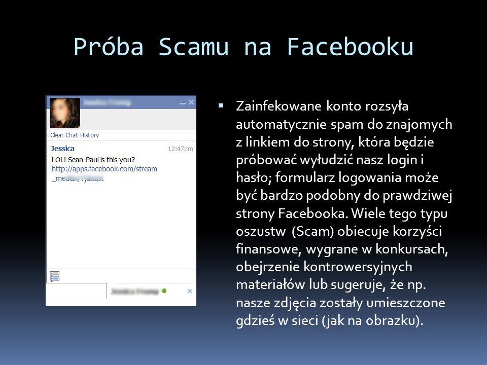 Próba Scamu na Facebooku