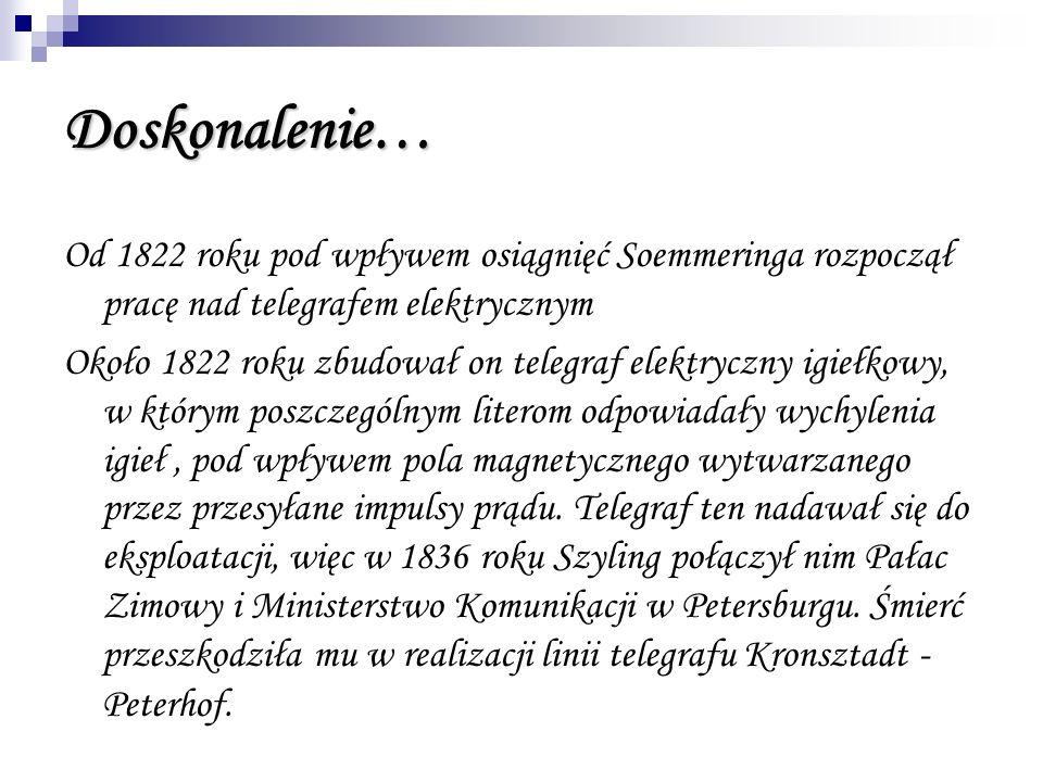 Doskonalenie… Od 1822 roku pod wpływem osiągnięć Soemmeringa rozpoczął pracę nad telegrafem elektrycznym.