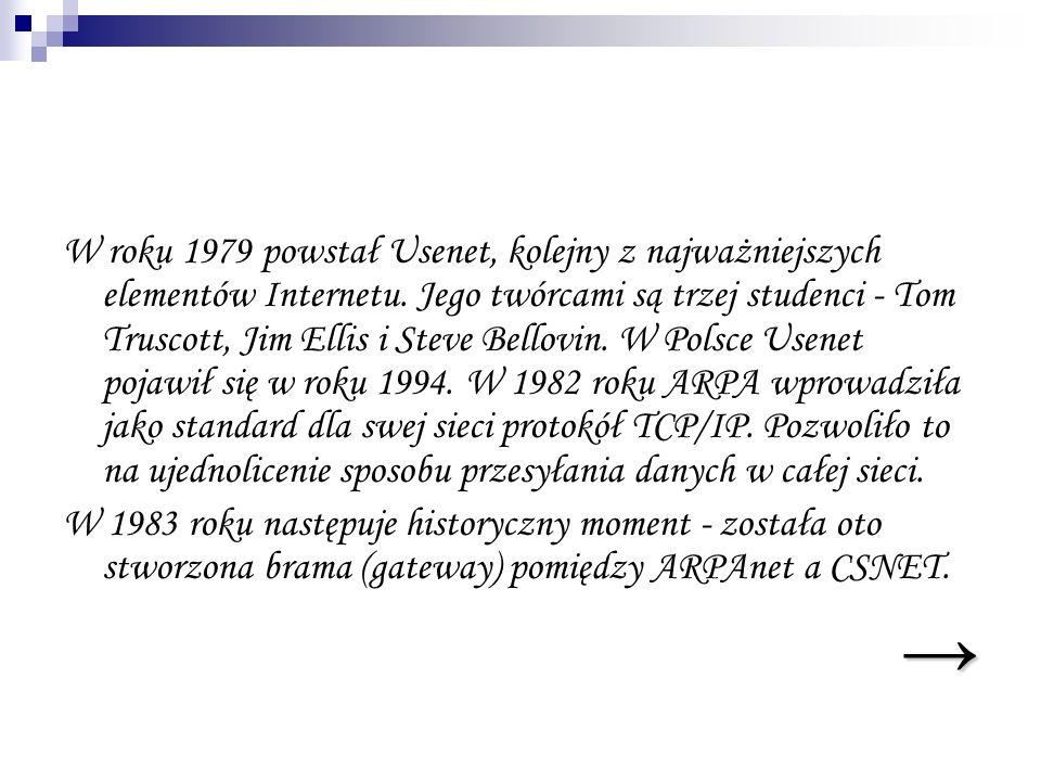 W roku 1979 powstał Usenet, kolejny z najważniejszych elementów Internetu. Jego twórcami są trzej studenci - Tom Truscott, Jim Ellis i Steve Bellovin. W Polsce Usenet pojawił się w roku 1994. W 1982 roku ARPA wprowadziła jako standard dla swej sieci protokół TCP/IP. Pozwoliło to na ujednolicenie sposobu przesyłania danych w całej sieci.