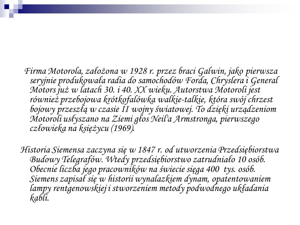 Firma Motorola, założona w 1928 r