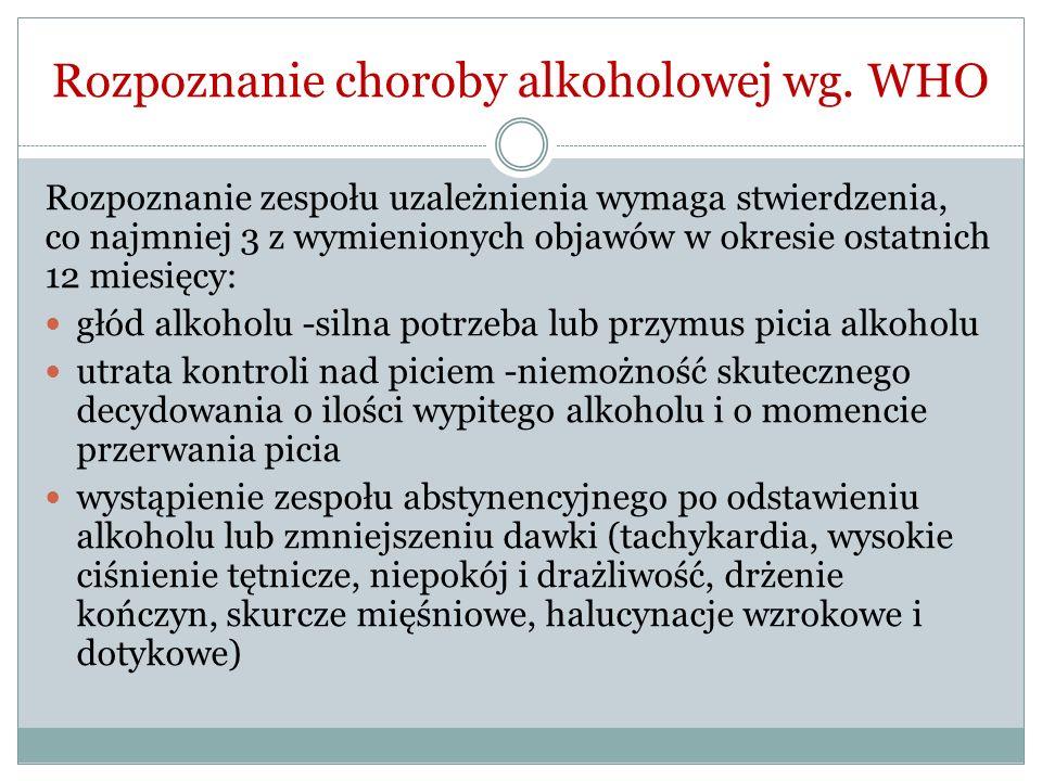 Rozpoznanie choroby alkoholowej wg. WHO