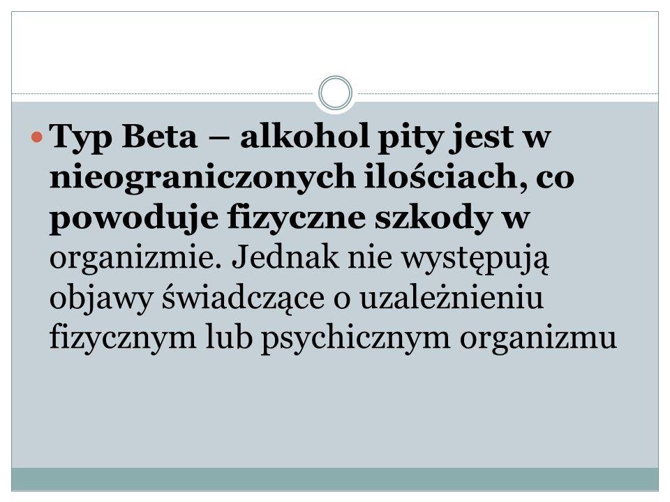 Typ Beta – alkohol pity jest w nieograniczonych ilościach, co powoduje fizyczne szkody w organizmie.