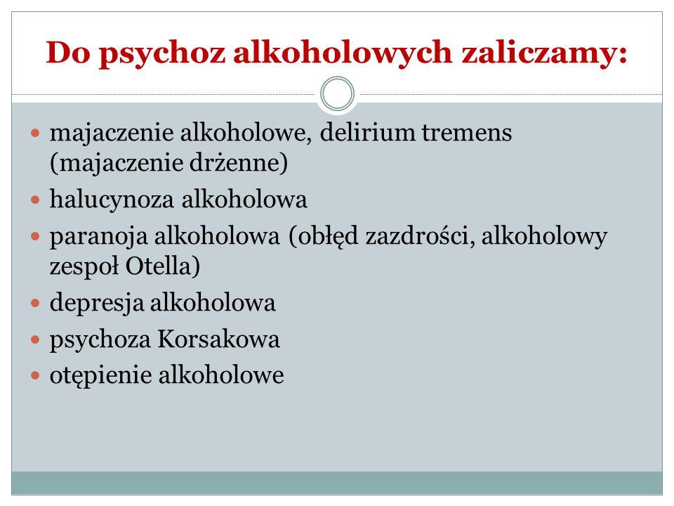 Do psychoz alkoholowych zaliczamy: